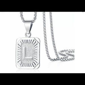 "White Gold Filled Letter L Pendant 20"" Necklace"